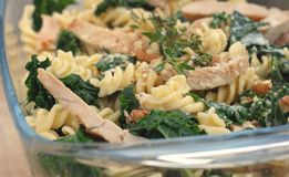 Pasta with kale or borecole Stock Image