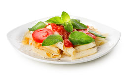 Pasta with ketchup and greens Royalty Free Stock Image