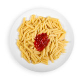 Pasta with ketchup isolated on white Royalty Free Stock Image