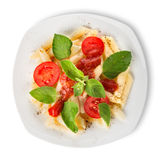 Pasta with ketchup and tomatoes Royalty Free Stock Image