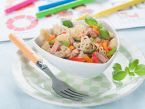 Pasta for kids. Animal shaped pasta for kids. Shot for a story on baby foods. Selective focus Royalty Free Stock Photo