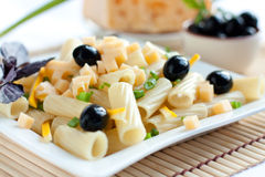 Pasta on a large white plate. Closeup Royalty Free Stock Photos