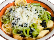 Pasta with leek and olives Royalty Free Stock Photography
