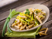 Pasta with leek and pepper Royalty Free Stock Photography