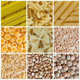 Pasta and Legumes. Collage of various kinds of pasta and legumes Stock Image