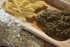 Pasta and lentils Stock Photo