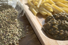 Pasta and lentils Stock Photography