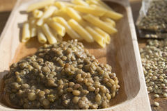 Pasta and lentils Royalty Free Stock Image