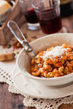 Pasta with lentils and vegetables Royalty Free Stock Images