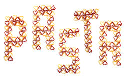 Pasta lettering, on white background Stock Photo