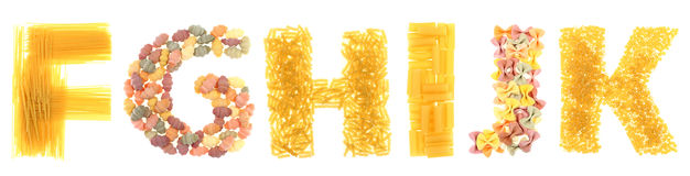 Pasta letters. On white background Stock Photos