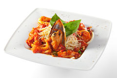 Pasta - Linguine with Seafood Stock Photos