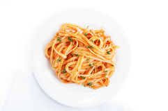 Pasta linguine with tomato sauce Royalty Free Stock Photo