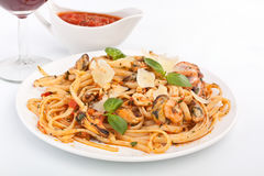 Pasta Linguine Vongole with Seafood Stock Images