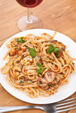 Pasta Linguine Vongole with Seafood Stock Photo