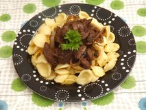 Pasta with liver Stock Photo