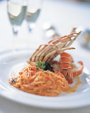 Pasta with lobster royalty free stock images
