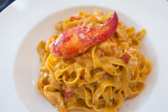 Pasta with lobster and cream Stock Photos