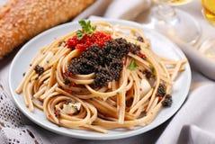 Pasta with lumpfish roe Stock Photography
