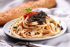 Pasta with lumpfish roe Royalty Free Stock Image
