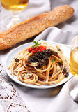 Pasta with lumpfish roe Royalty Free Stock Photos