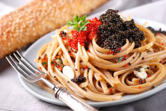 Pasta with lumpfish roe Royalty Free Stock Photography