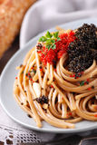 Pasta with lumpfish roe Royalty Free Stock Images