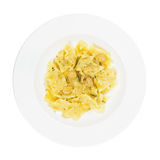 Pasta Macaroni and Chickpeas plate isolated on white background Stock Images