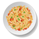 Pasta macaroni penne salad withfried chicken, tomato, parsley le Stock Images