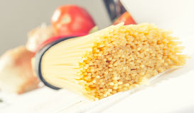 Pasta. Macro of spaghetti pasta, studio photo Stock Image