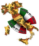 Pasta made in Italy. Italian territory with pasta and italian flag, made in Italy with a written Stock Photo