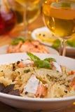 Pasta mafalde with salmon Stock Photos