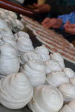 Pasta making scene. Arrangement of the dough, cake making scenes Royalty Free Stock Images