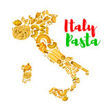 Pasta in map of Italy vector poster Stock Photography