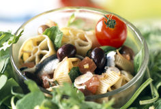 Pasta and marinated anchovy salad Royalty Free Stock Photography