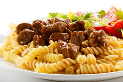 Pasta with meat Stock Photo