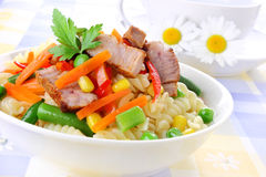 Pasta with meat. And vegetables stock images