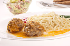 Pasta and meat-balls Royalty Free Stock Photography