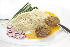 Pasta and meat-balls Royalty Free Stock Photo