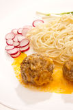 Pasta and meat-balls Royalty Free Stock Image