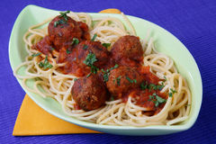 Pasta with meat balls. On plate Stock Photography