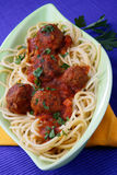 Pasta with meat balls Stock Images