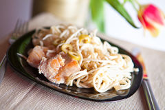 Pasta with meat on plate Stock Images