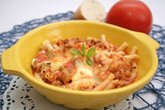 Pasta with meat and cheese Stock Images