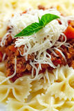 Pasta  meat cheese and garnish with mint. Stock Photography