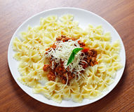 Pasta  meat cheese and garnish with mint. Stock Photo