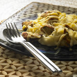 Pasta with meat pieces Stock Photography