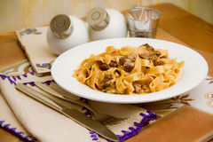 Pasta with meat Stock Image