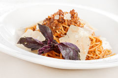 Pasta with meat sauce Royalty Free Stock Photos