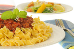 Pasta and Meat Sauce Royalty Free Stock Photos